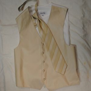 Calvin Klein Champagne Striped Tux Vest and Tie M